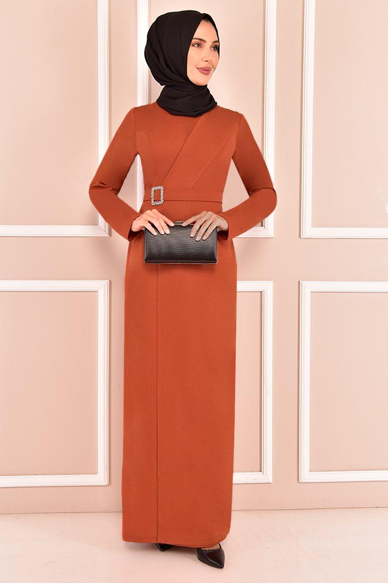 Moda Merve Kiremit Tokalı Abiye Elbise
