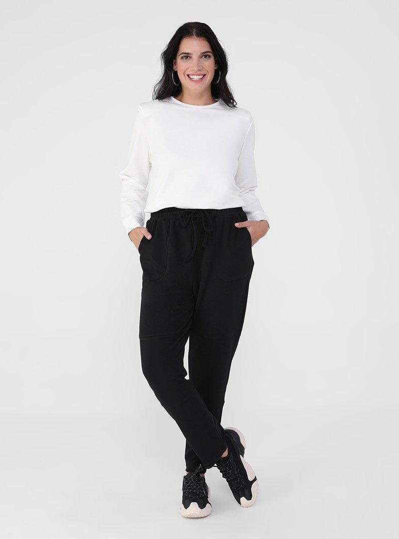 Alia Siyah Büyük Beden Beli Bağcıklı Cepli Pantolon