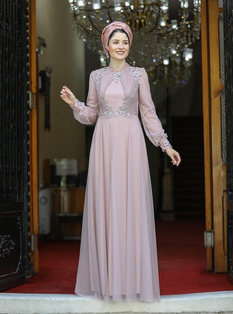 Burak Baran Fashion Pudra Su Abiye Elbise