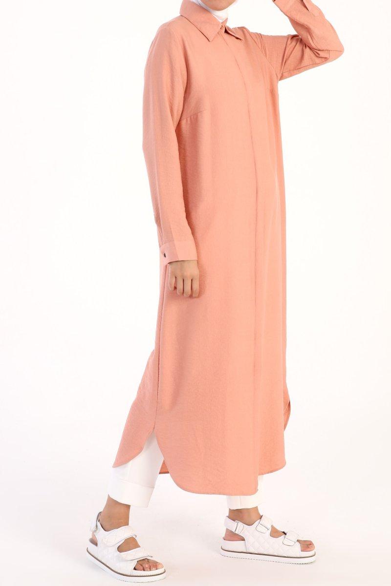 Allday Pudra Gizli Patlı Düğmeli Elbise Tunik