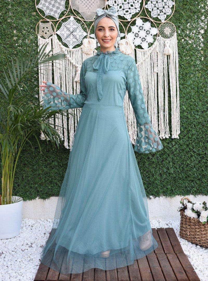 MAS&DESİGN Su Yeşili Yakası Fırfırlı Bağcıklı Kloş Abiye Elbise