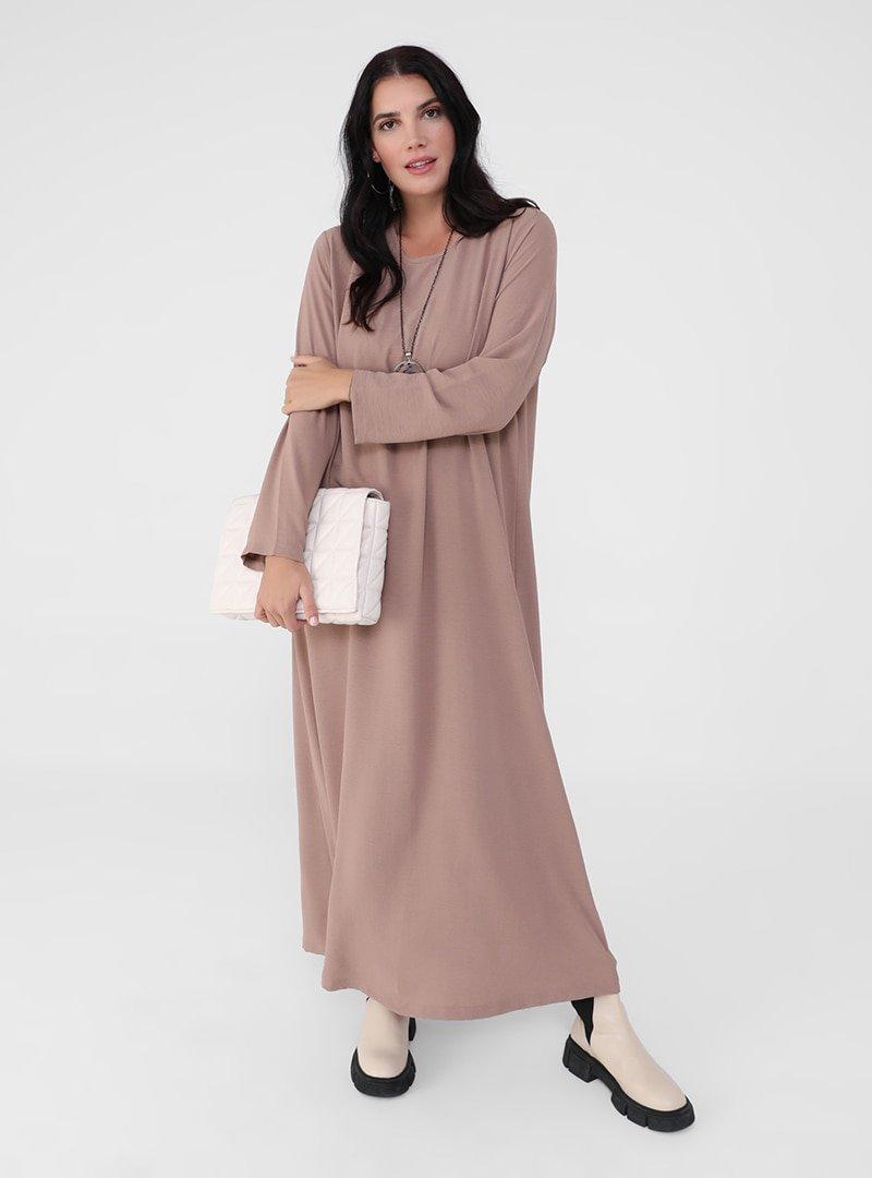 Alia Camel Büyük Beden Kolyeli Elbise