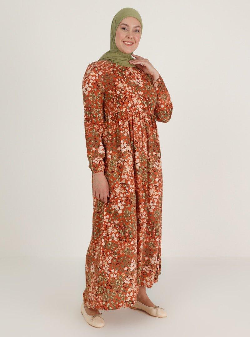 ECESUN Taba Desenli Elbise