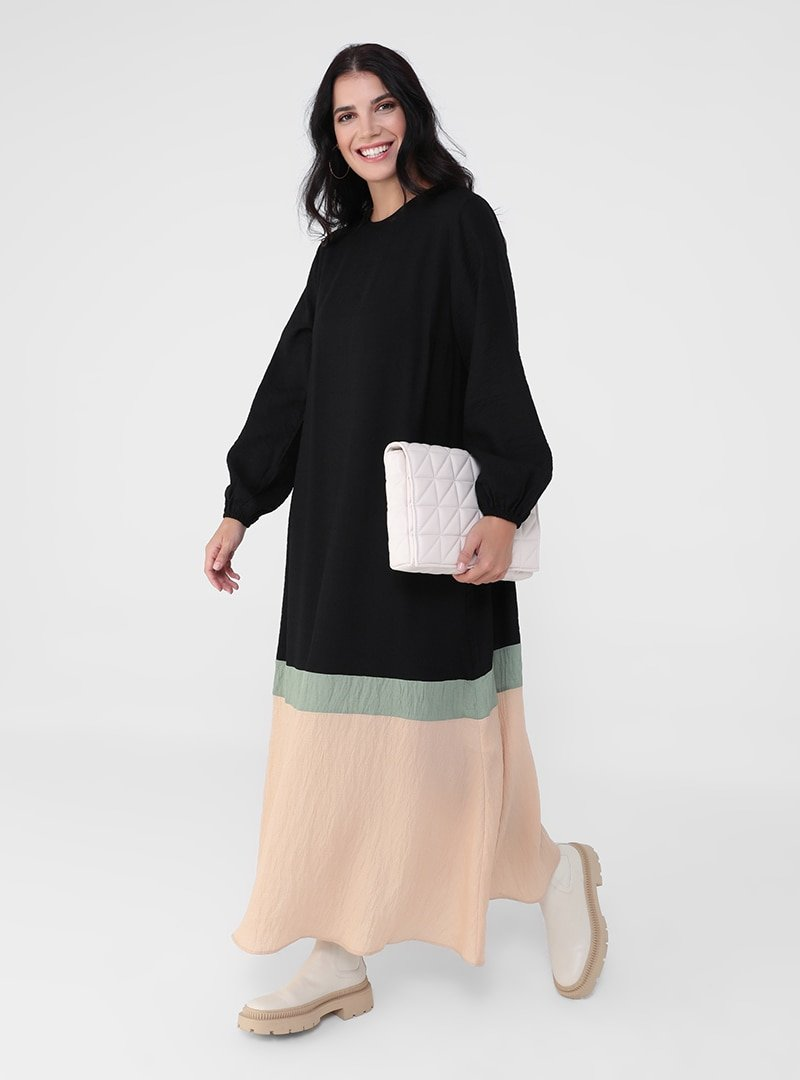 Alia Siyah Haki Bej Büyük Beden Renk Bloklu Elbise