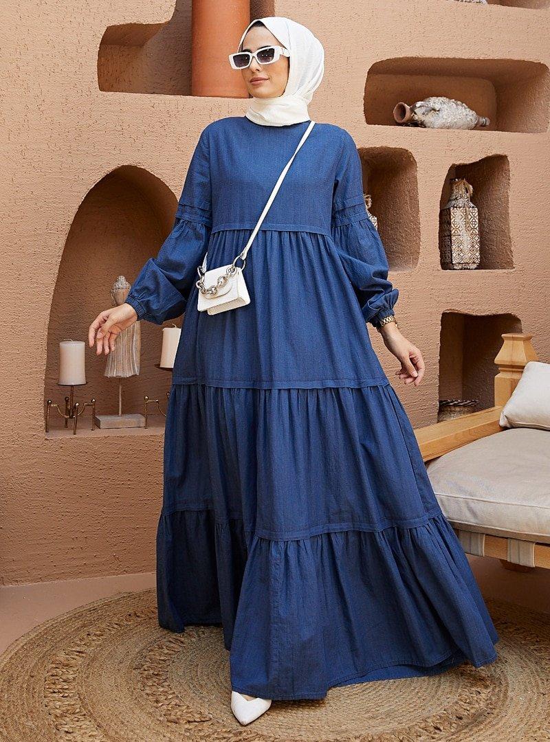 Neways Koyu Mavi Cep Detaylı Kot Elbise