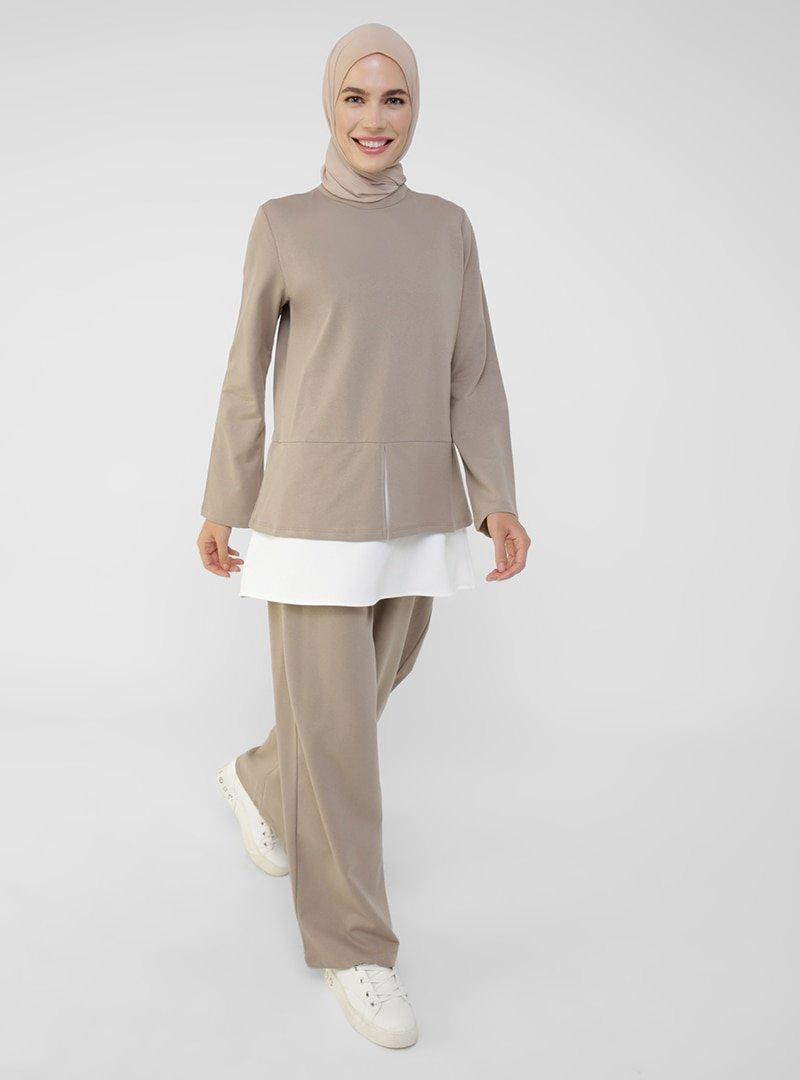 Refka Açık Vizon Tunik & Pantolon İkili Takım