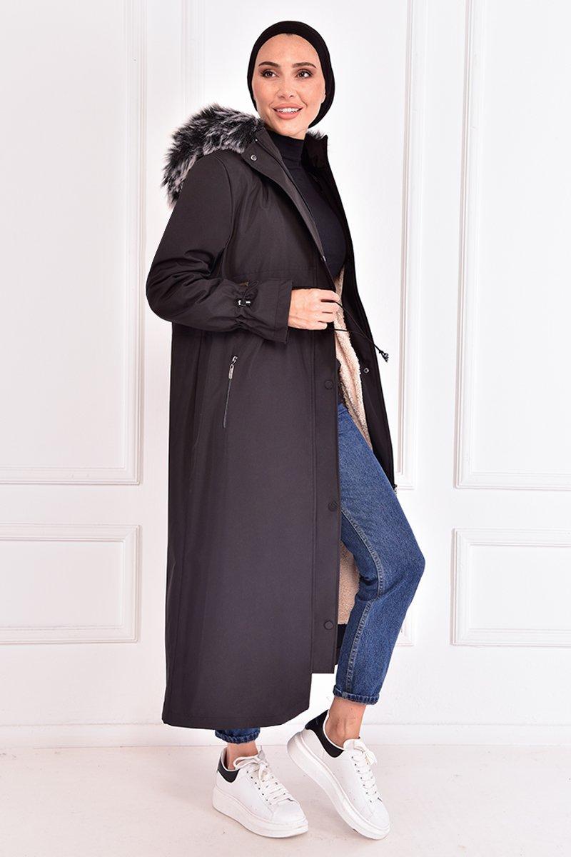 Moda Merve Siyah Kapüşonlu Kaban