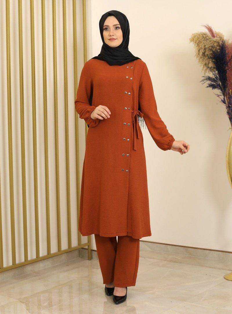 Fashion Showcase Design Kiremit Çıtçıt Detaylı Tunik & Pantolon İkili Takım