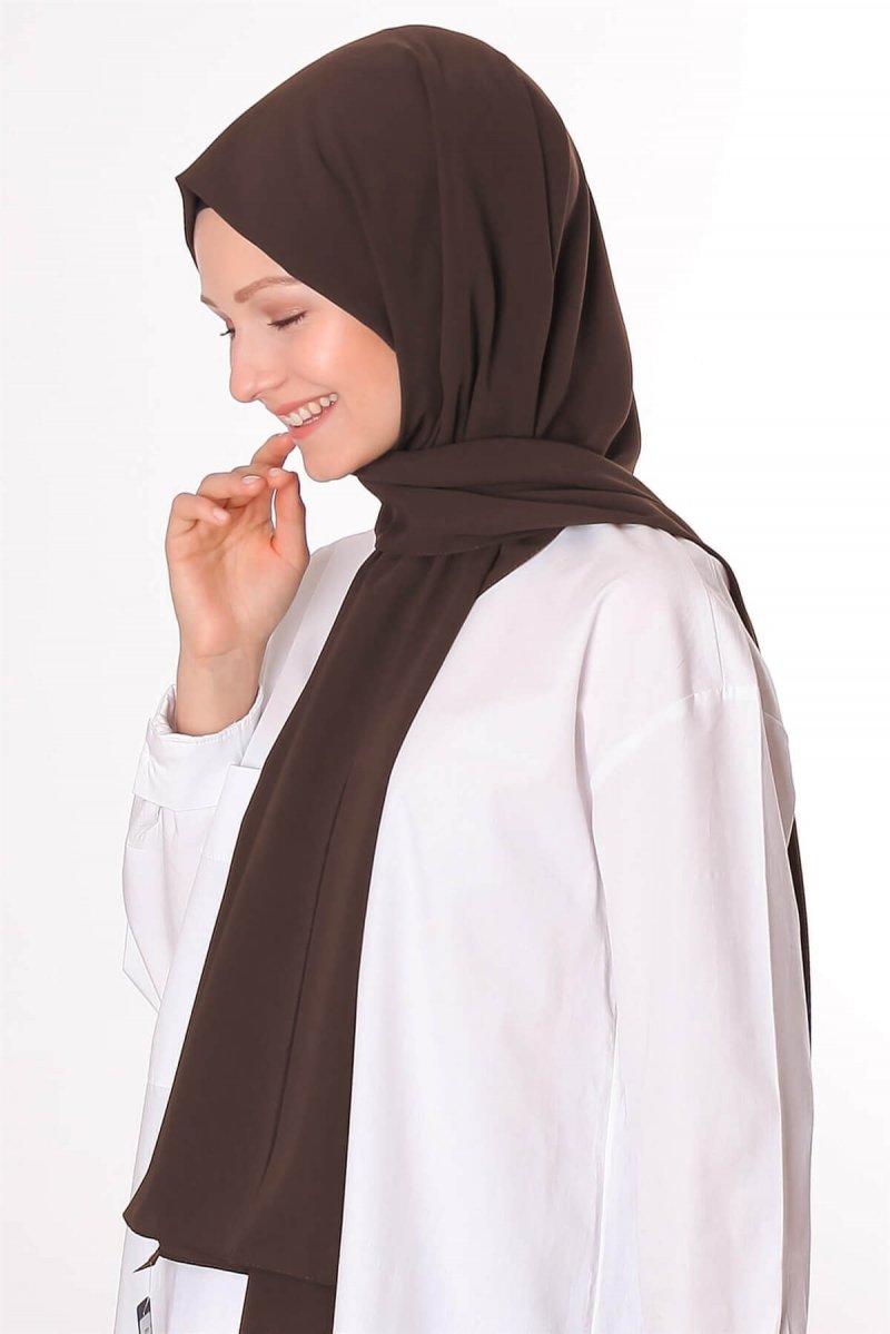 Silk Home Kahverengi Medine İpeği Şal
