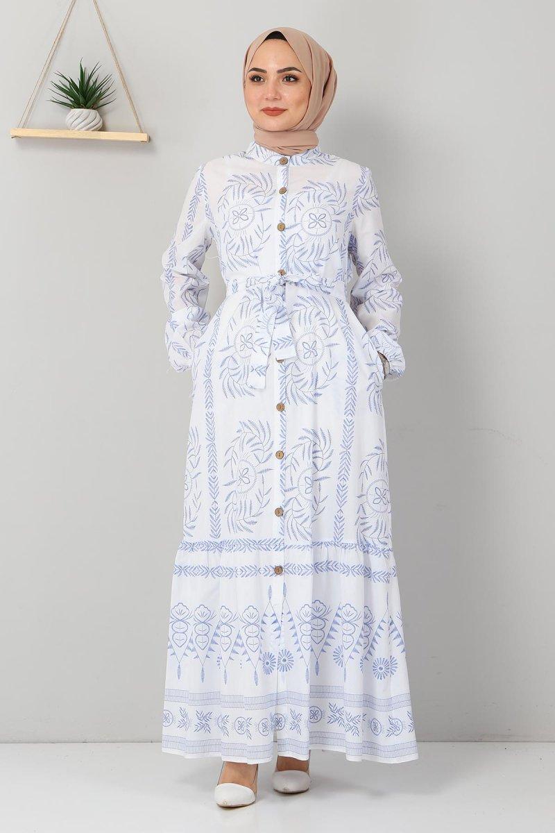 MISSVALLE Mavi Düğme Detaylı Elbise