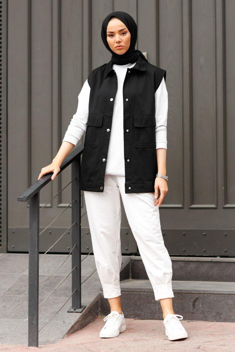 In Style Siyah Kapak Cepli Gabardin Yelek