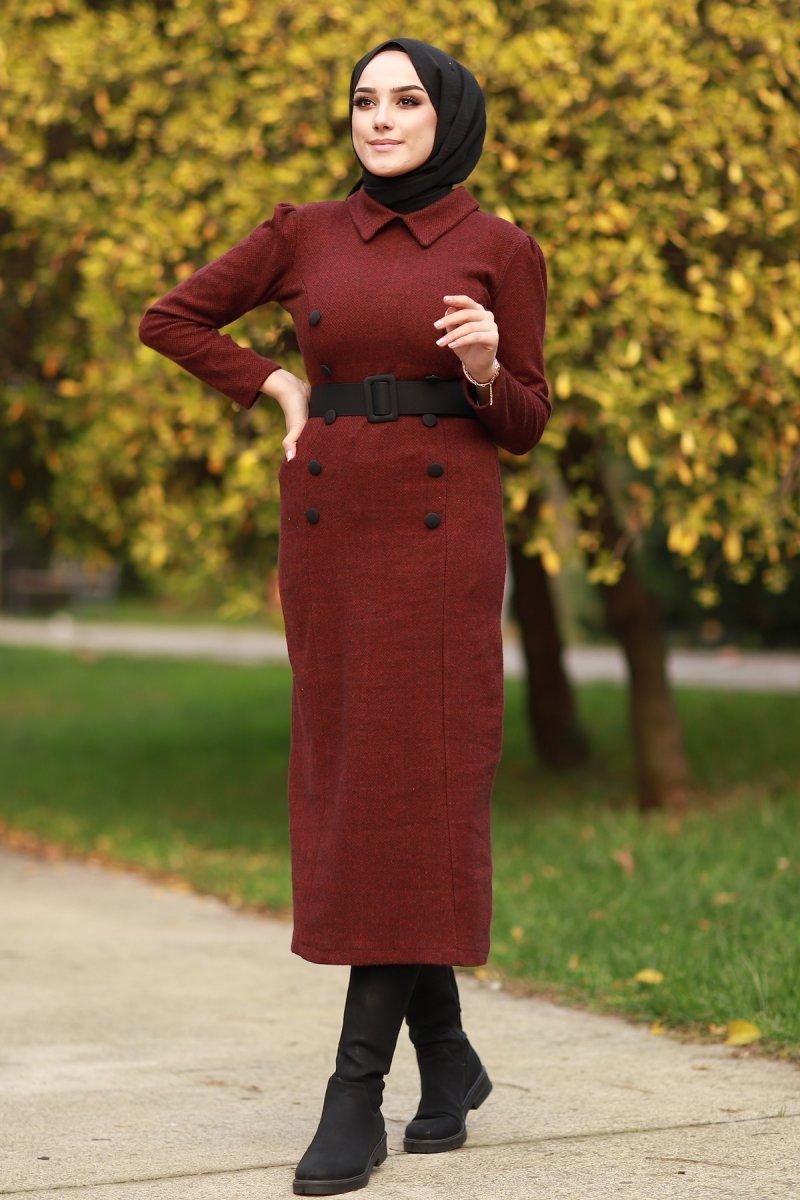 In Style Bordo Süs Düğmeli Kışlık Elbise