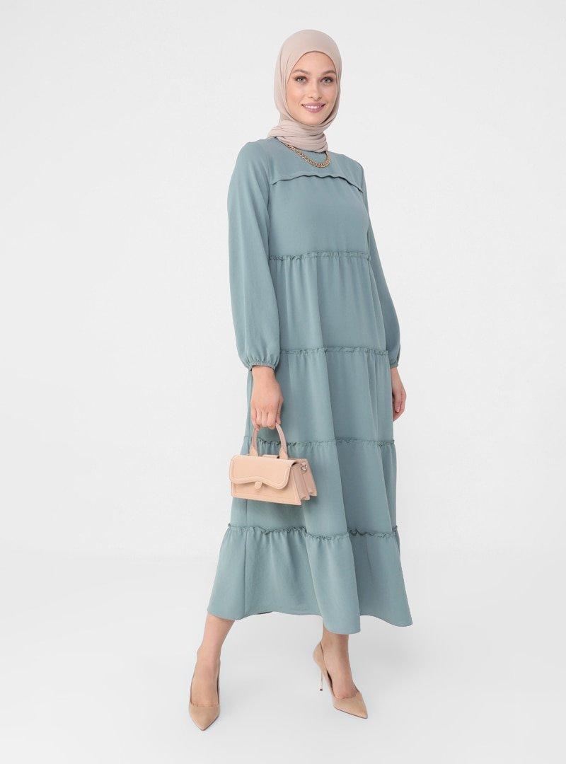 Refka Koyu Çağla Balon Kollu Salaş Elbise
