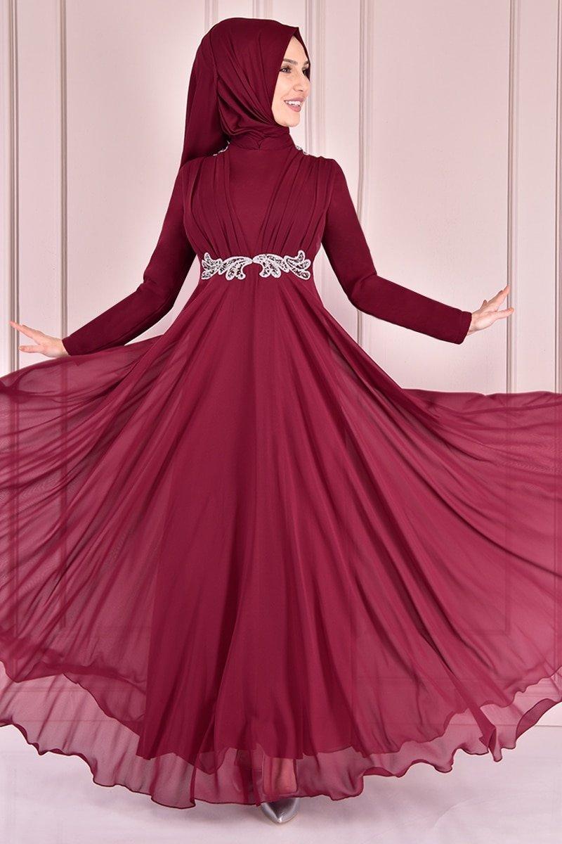 Moda Merve Bordo Taşlı Payet Abiye Elbise