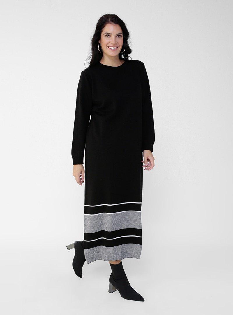 Alia Siyah Ekru Büyük Beden Çizgili Triko Elbise