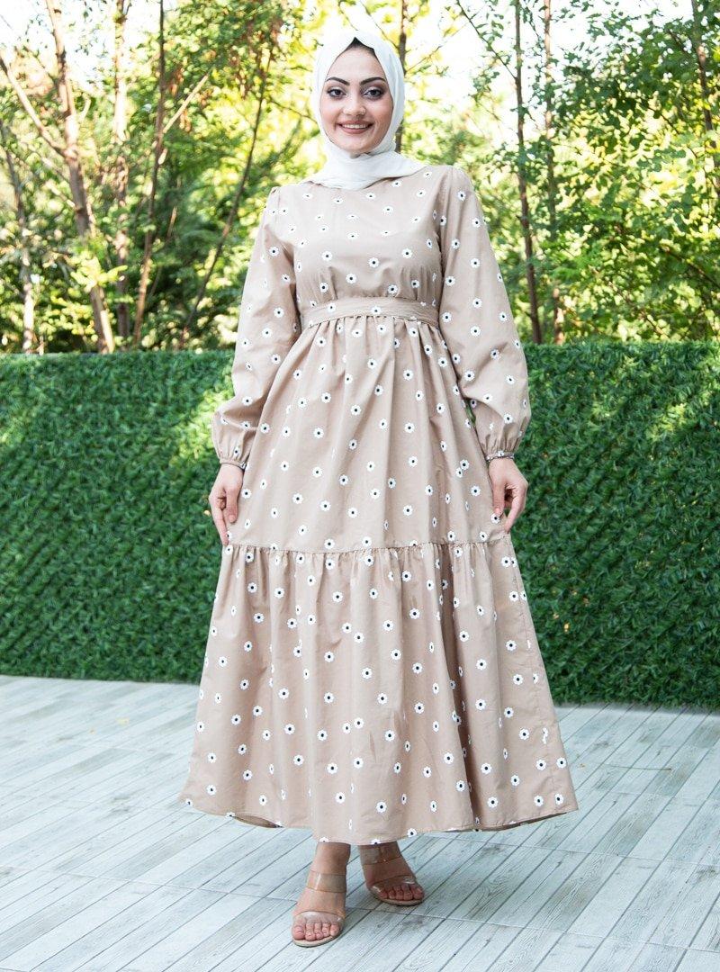 Sevit-Li Vizon Çiçek Desenli Elbise