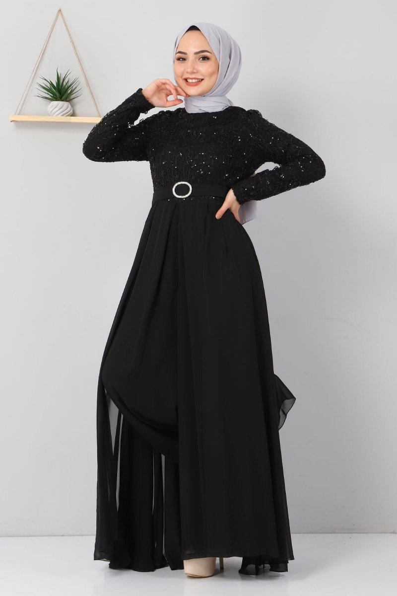 MISSVALLE Siyah Dantel Detaylı Tulum Elbise