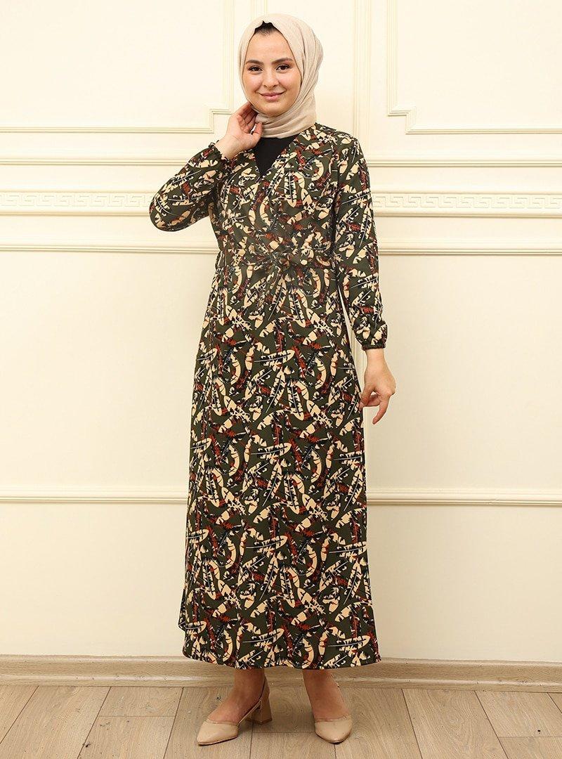 Moda Dua Haki Kemer Detaylı Elbise