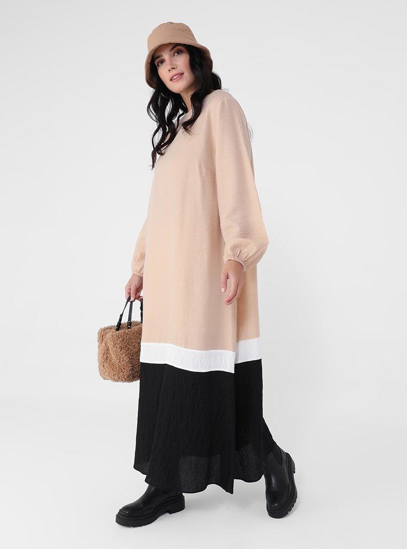 Alia Ekru Siyah Bej Büyük Beden Renk Bloklu Elbise