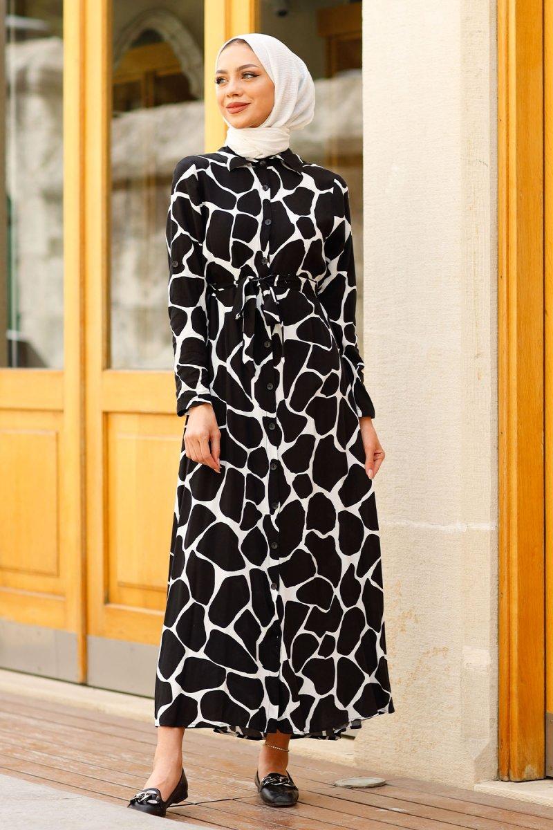 In Style Siyah Taş Desen Düğmeli Elbise