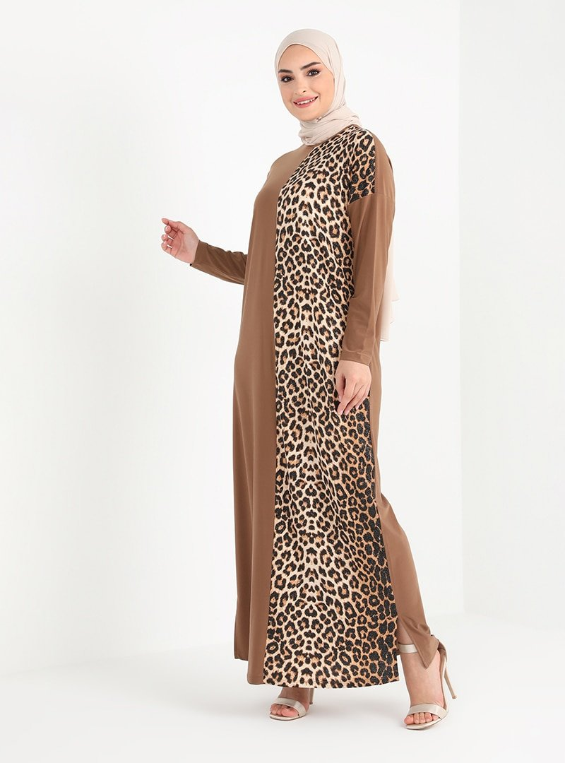 Tavin Camel Leopar Desenli Elbise