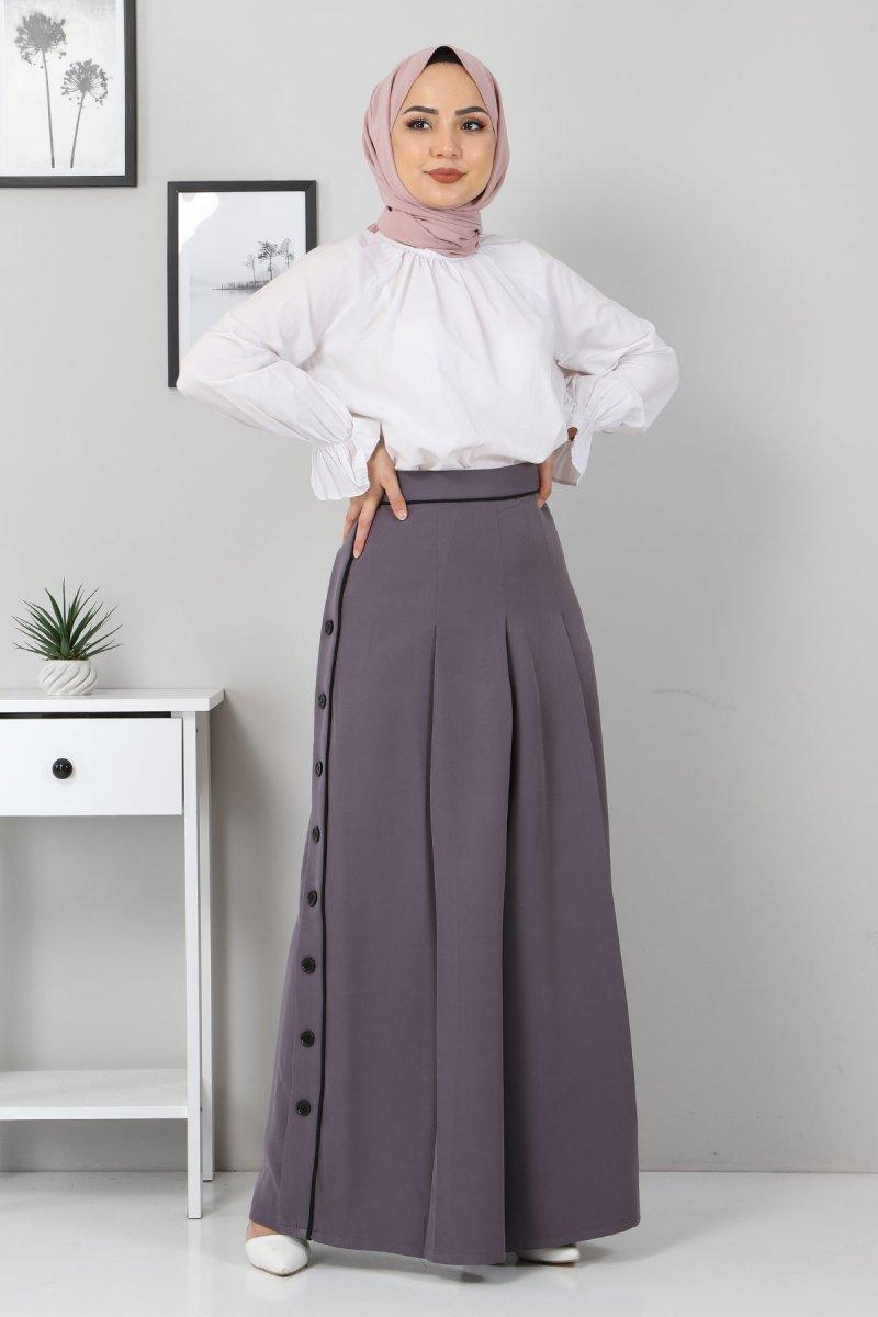 MISSVALLE Antrasit Düğme Detaylı Pantolon Etek