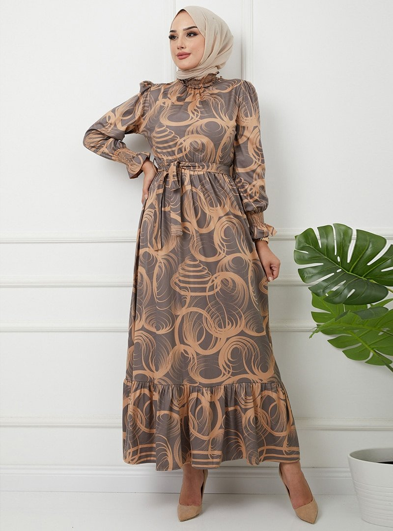 Olcay Camel Yakası Ve Kol Ağzı Gibei Desenli Elbise