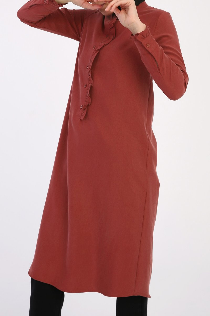 Allday Kiremit Fırfır Detaylı Tensel Tunik