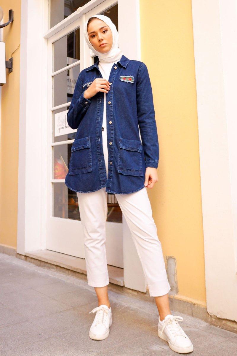 In Style Mavi Yıldız Baskılı Kot Ceket