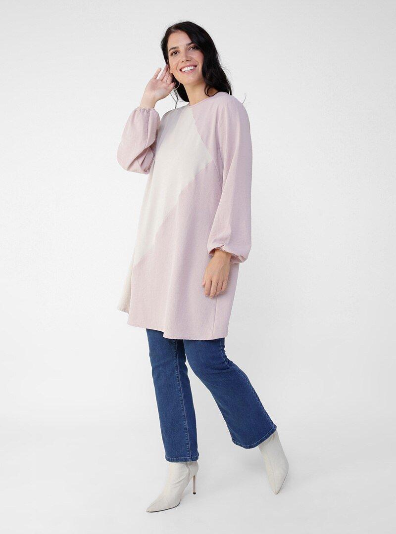 Alia Toz Taş Lila Büyük Beden İki Renkli Tunik