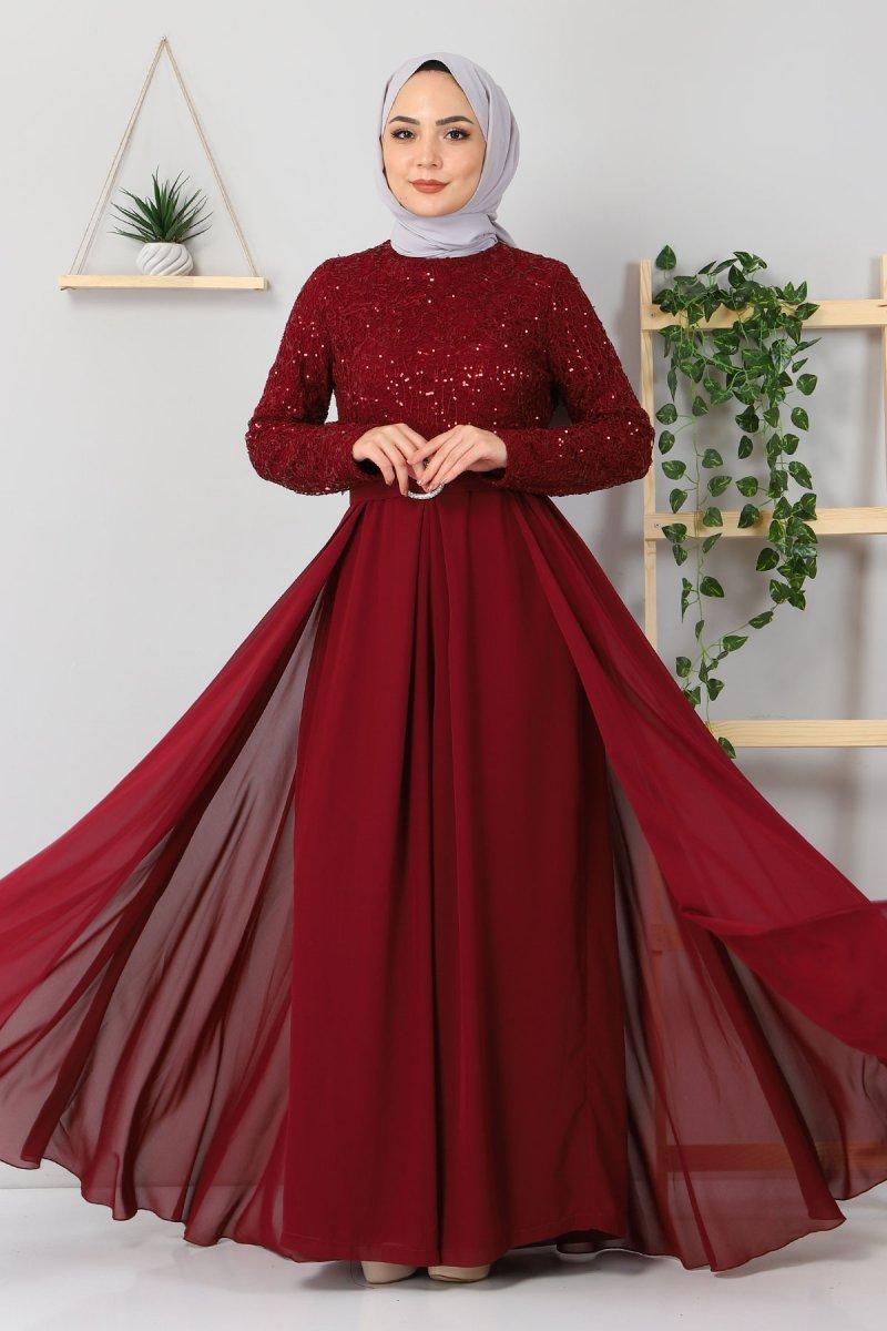 MISSVALLE Bordo Dantel Detaylı Tulum Elbise