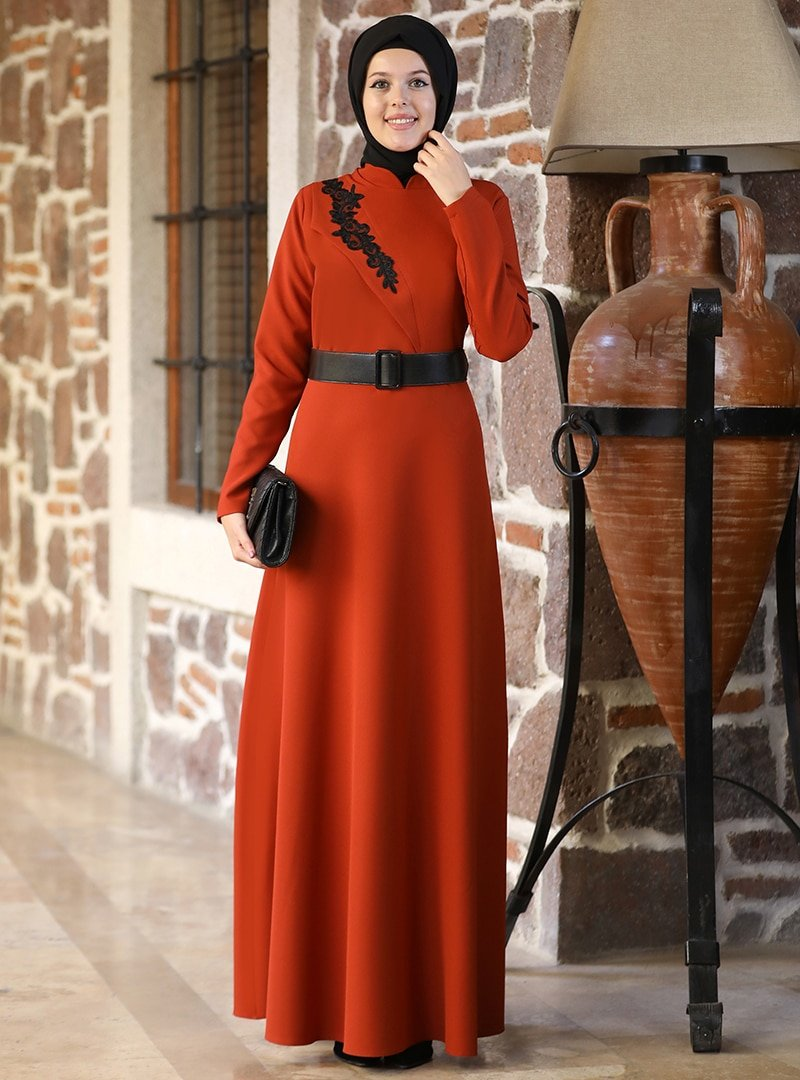 Esmaca Kiremit Tuğba Abiye Elbise