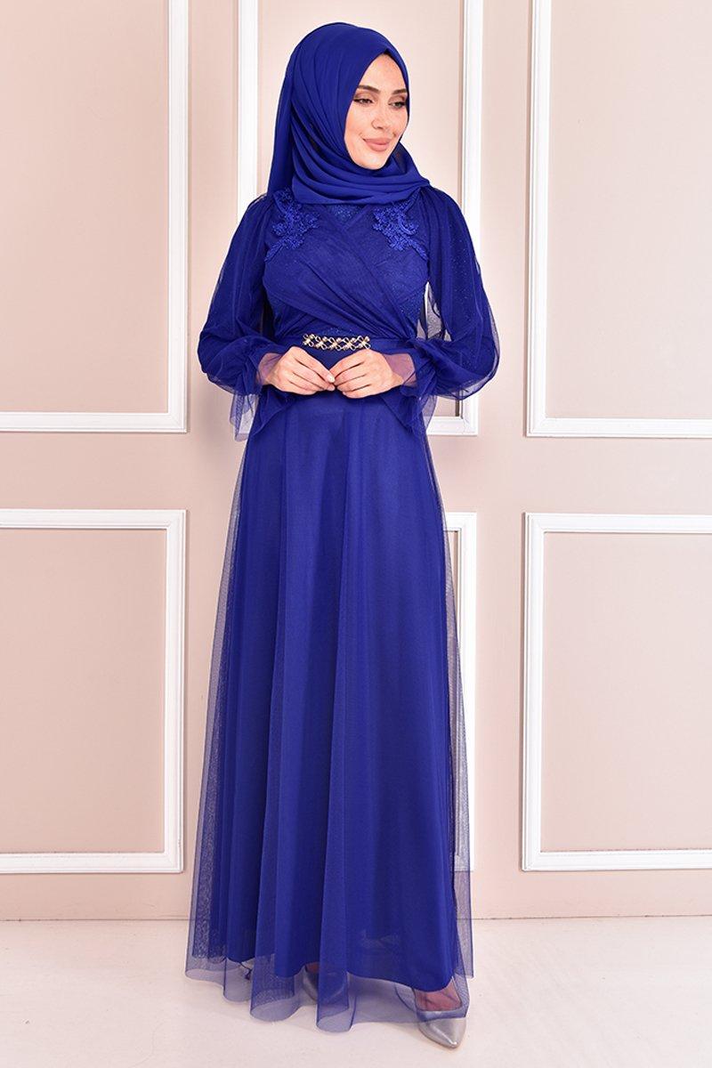 Moda Merve Saks Simli Abiye Elbise