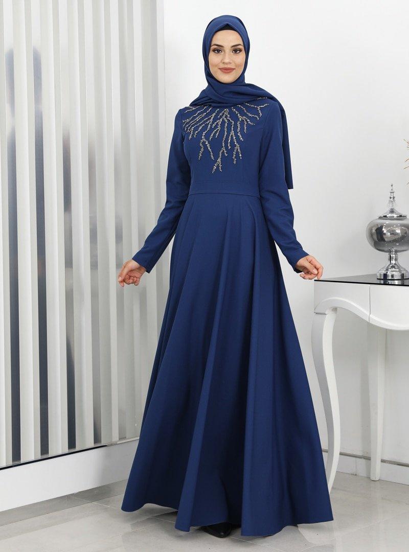 Surikka İndigo Hilal Abiye Elbise