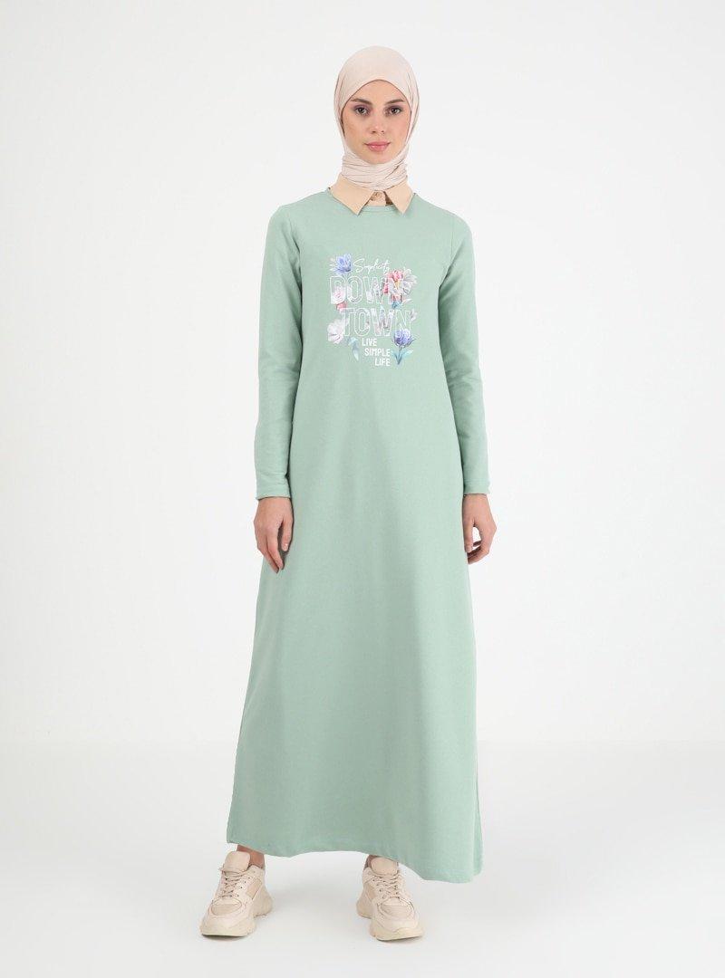 Muni Muni Mint Baskılı Elbise