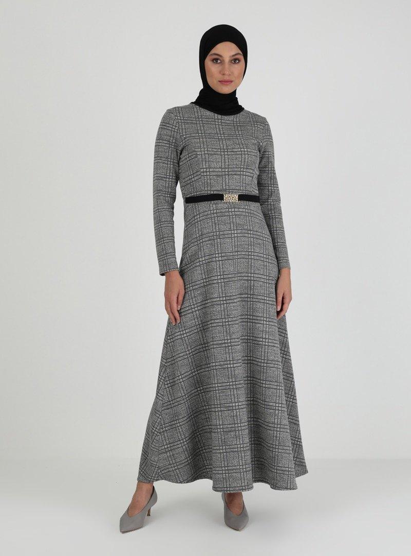 ZENANE Koyu Gri Desenli Elbise
