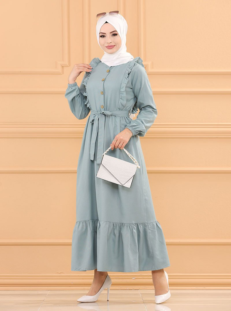 Tofisa Mint Fırfır Detaylı Elbise