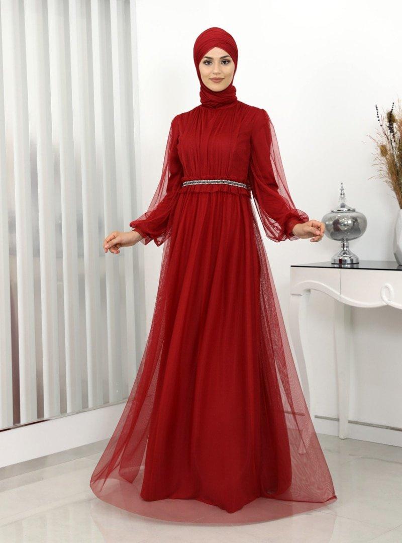 Surikka Kırmızı Revza Abiye Elbise