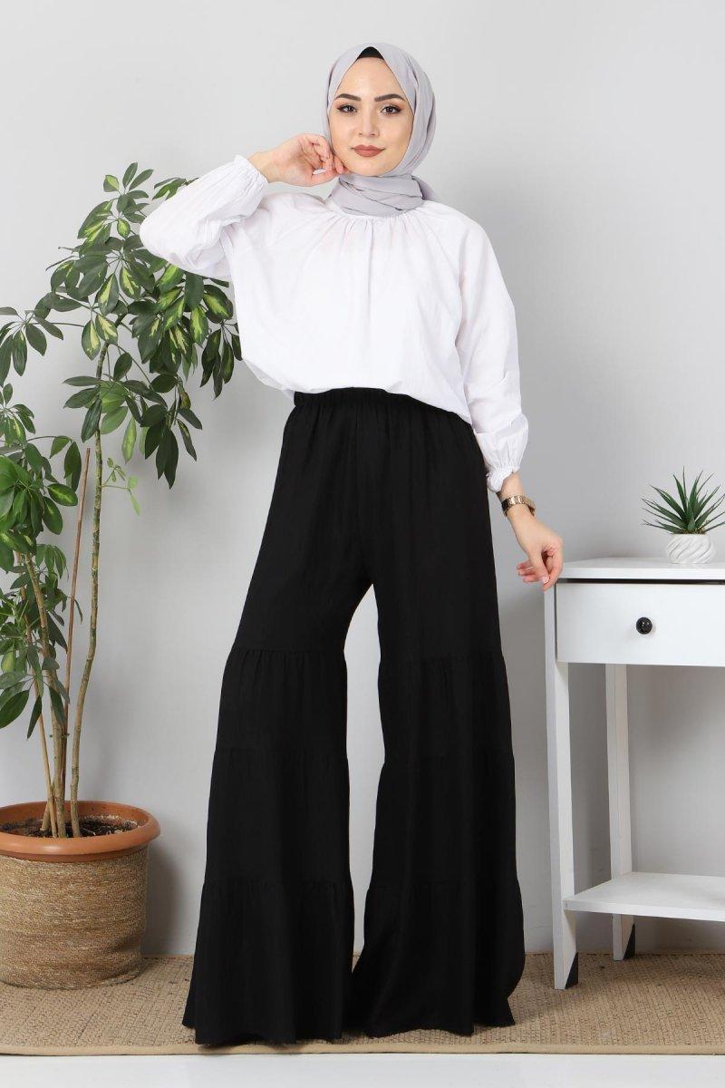MISSVALLE Siyah Bol Paça Aerobin Pantolon Etek