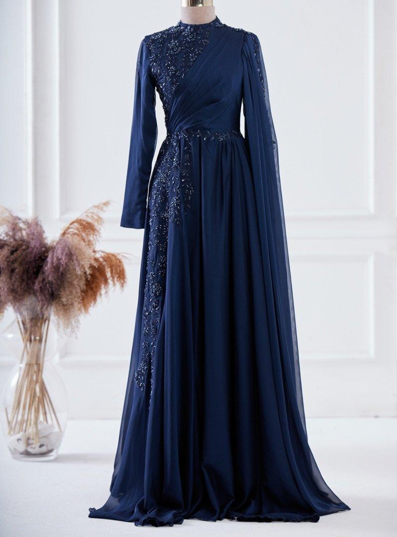 LARACHE Lacivert Hilal Abiye Elbise