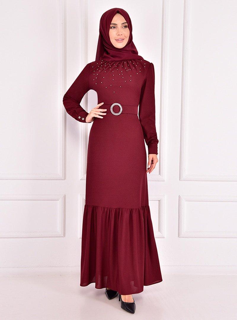 AYŞE MELEK TASARIM Bordo Yakası Büzgülü İnci Detaylı Abiye Elbise