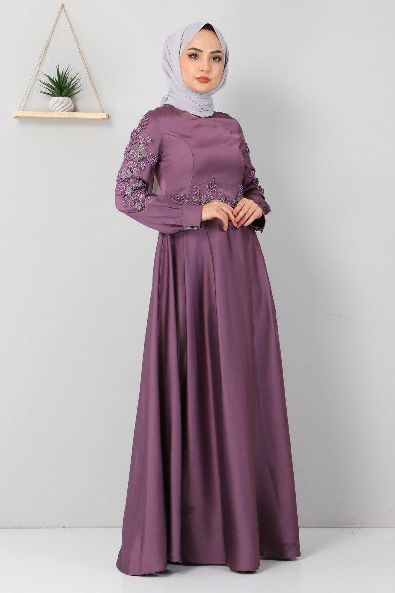 MISSVALLE Lila Aplike Dantelli Elbise