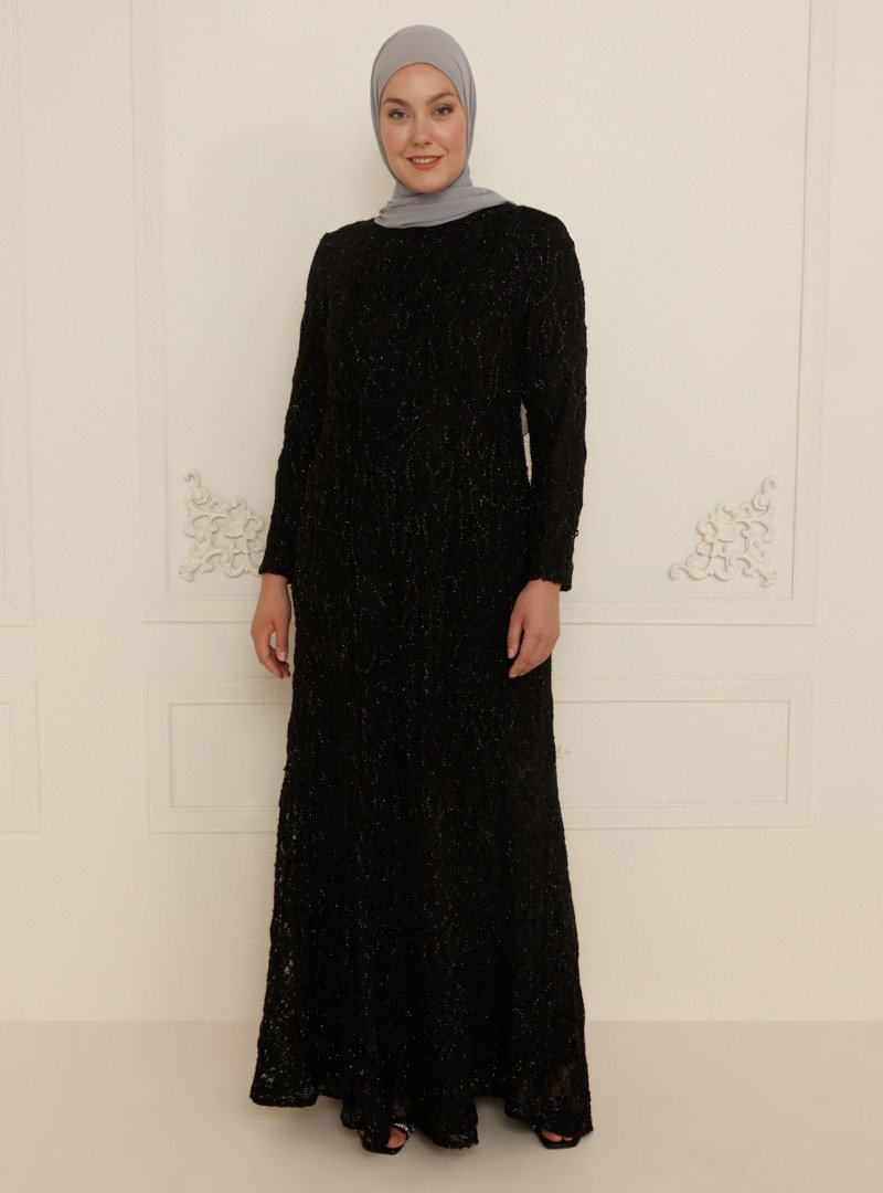 Sevdem Abiye Siyah Dantel Detaylı Tül Abiye Elbise