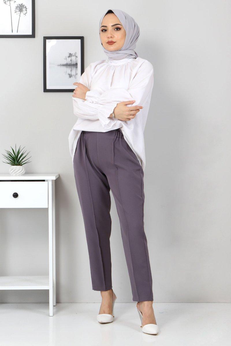 Tesettür Dünyası Antrasit Beli Lastikli Pantolon