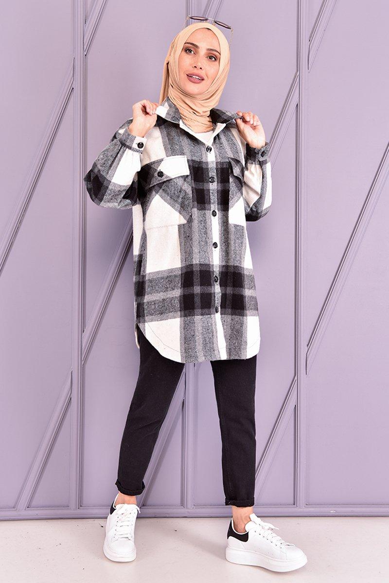 Moda Merve Siyah Oduncu Gömlek
