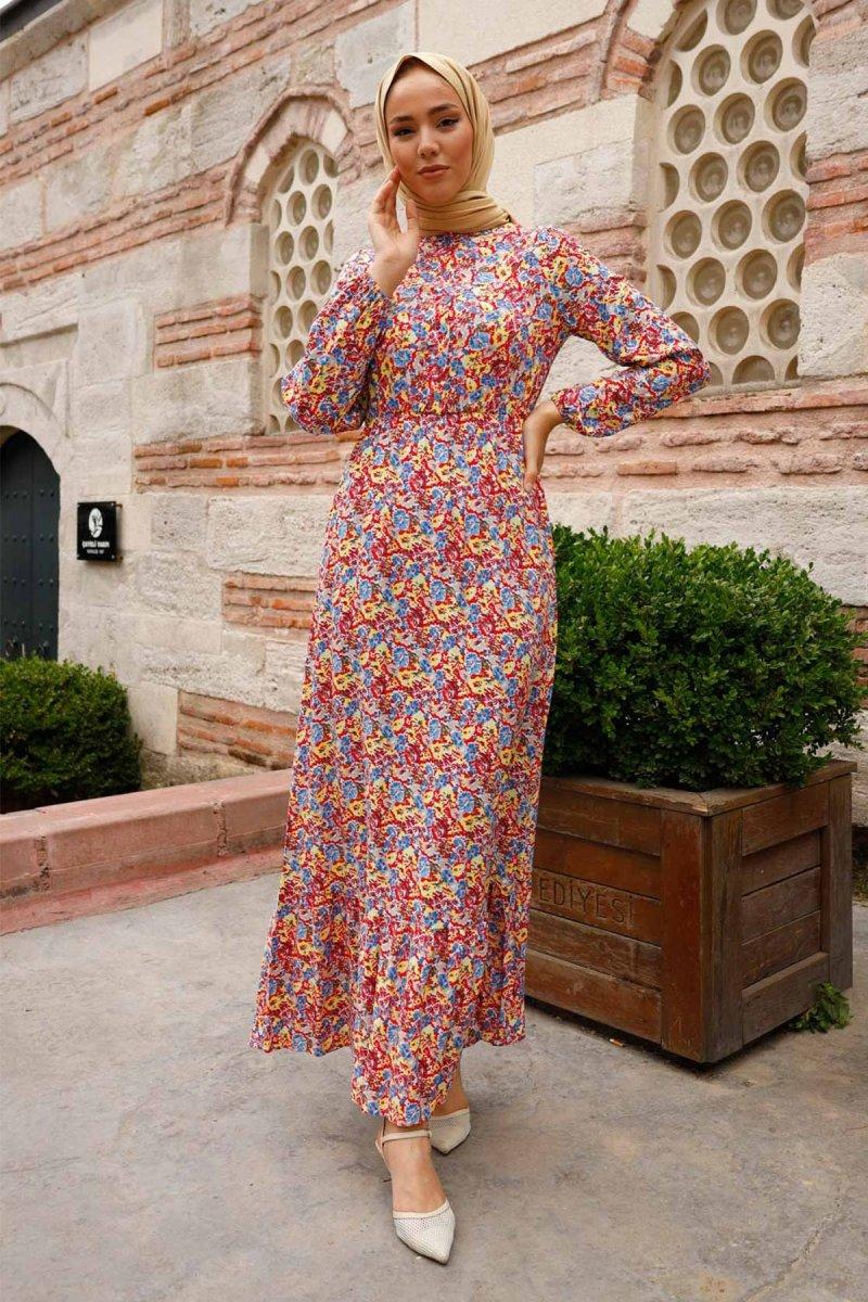 In Style İndigo Çiçekli Düğmeli Dokuma Elbise