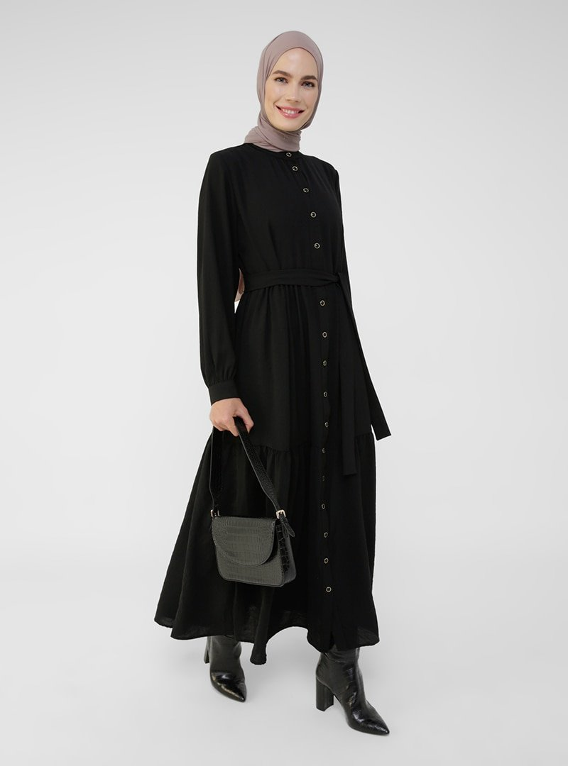 Refka Siyah Boydan Düğmeli Aerobin Elbise