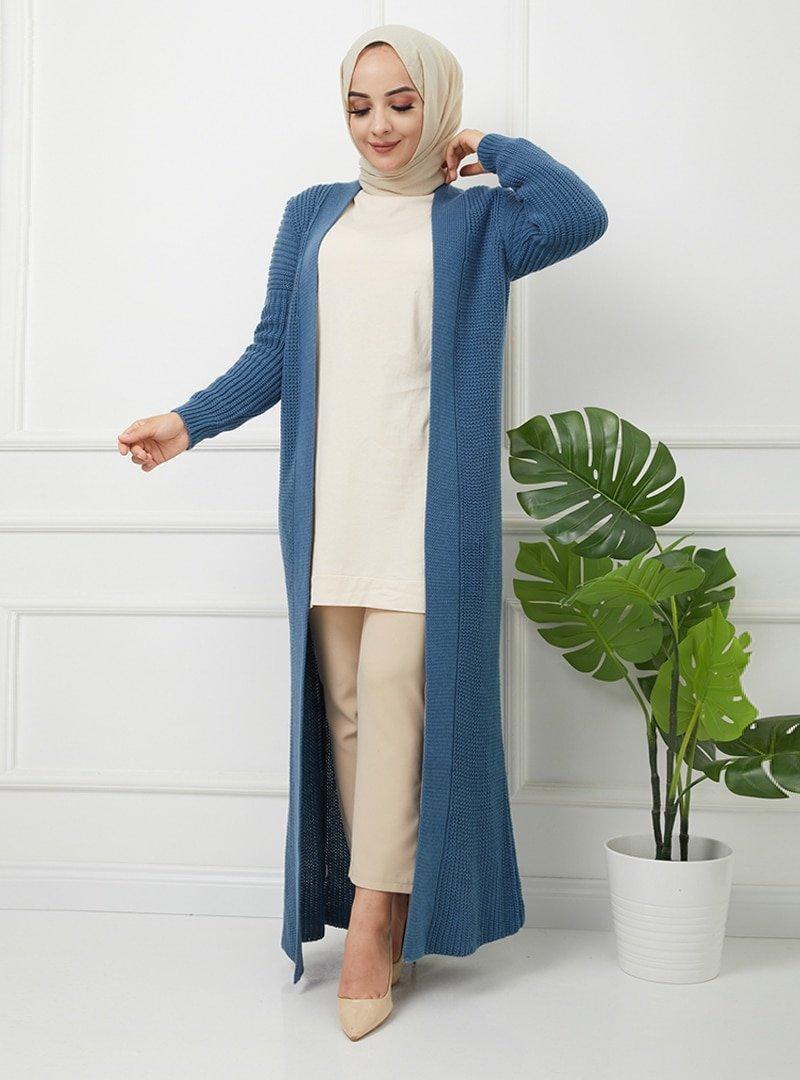 SAHRA BUTİK İndigo Triko Elbise