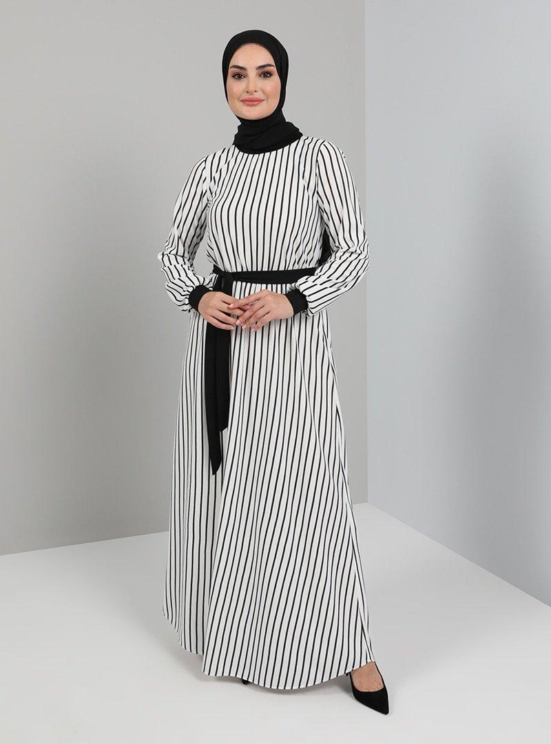 Tavin Ekru Kuşak Detaylı Çizgili Elbise