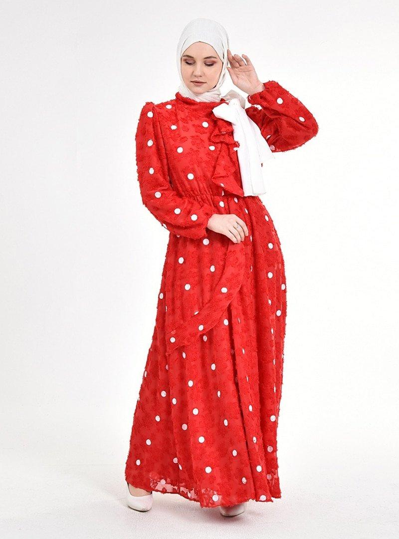 Picolina Kırmızı Puantiye Beyaz Fırfırlı Şifon Elbise